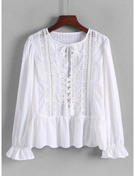 Hollow Out Lace Panel Pep Hem Blouse by Sheinside