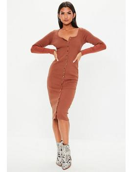 Brown Ribbed Popper Midi Dress by Missguided