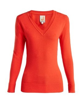 V Neck Cotton Blend Sweater by Joos Tricot
