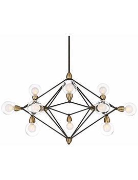 """Possini Euro Ares 40"""" Wide Black And Brass 12 Light Pendant by Possini Euro Design"""