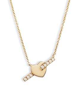 Dana Rebecca Livi Gold Heart Bar Diamond Necklace by Dana Rebecca Designs