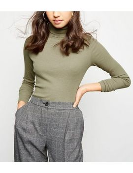 Khaki Ribbed Roll Neck Top by New Look