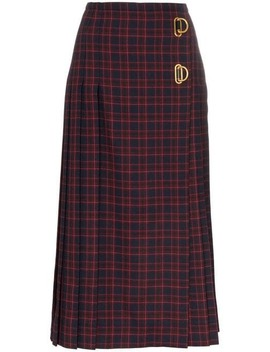 Arroux Check Print Pleated Wool Skirt by Burberry