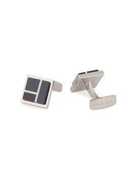 Square Cufflinks With Color Block Enamel by Boss
