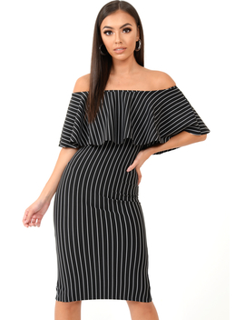 Black Pinstripe Frill Bardot Bodycon Midi Dress  Jovey by Rebellious Fashion