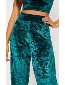Tall Emerald Green Velvet Wide Leg Trousers by Prettylittlething