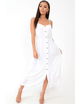 White Strappy Button Down Midi Dress   Shaelee by Rebellious Fashion