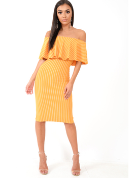 Mustard Pinstripe Frill Bardot Bodycon Midi Dress  Jovey by Rebellious Fashion