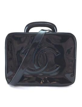 #24506 Ultra Rare Zip Around Satchel Vanity Cc Handbag Beauty Case Black Patent Leather Shoulder Bag by Chanel
