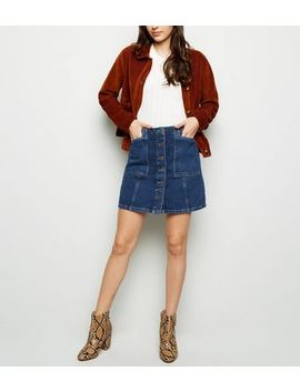 Blue Patch Pocket Denim Skirt by New Look