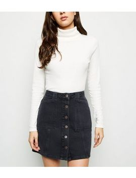 Black Patch Pocket Denim Skirt by New Look