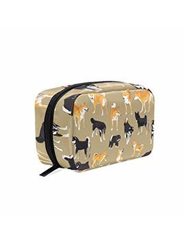 Unicey Japanese Shikoku And Shiba Inu Makeup Bags Portable Tote Cosmetics Bag Travel Cosmetic Organizer Toiletry Bag Make Up Cases For Women by Unicey