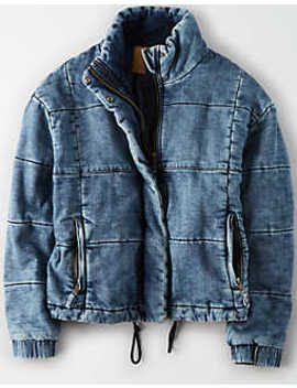 Ae Denim Puffer Jacket by American Eagle Outfitters