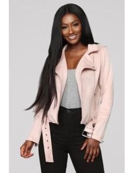 On The Go Moto Jacket   Blush by Fashion Nova