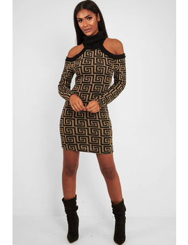Beige Black Repeat Pattern Cold Shoulder Dress   Donya by Rebellious Fashion