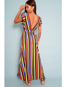 Multi Colour Plunge Wrap Belted Maxi Dress   Carri by Rebellious Fashion