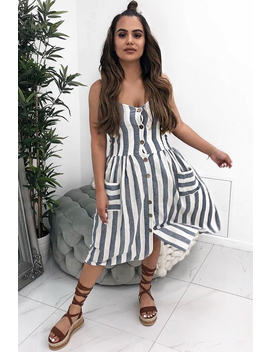 Blue And White Stripe Button Up Dress   Lilyanne by Rebellious Fashion