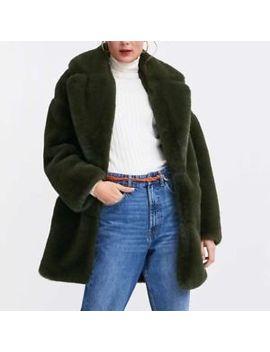 Zara Woman Green Faux Fur Coat 1255/277 by Ebay Seller