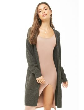 Brushed Open Front Longline Cardigan by Forever 21