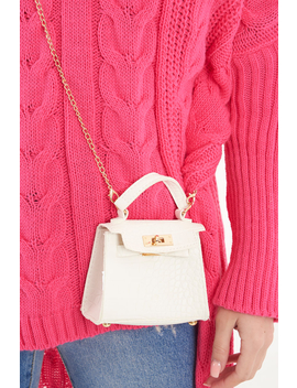 White Faux Croc Mini Handbag   Ramie by Rebellious Fashion
