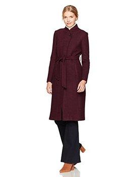 Cole Haan Women's Textured Wool Molded Collar Coat Self Belt by Cole Haan
