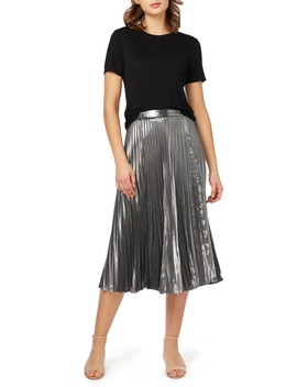 Pleated Metallic Midi Skirt by Nicole Miller New York