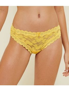 Mustard Scalloped Lace Thong by New Look