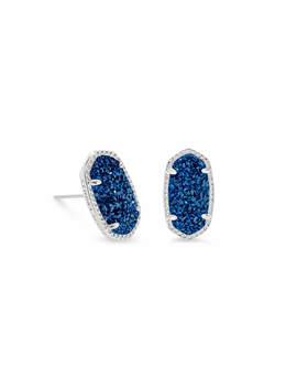 Ellie Silver Stud Earrings In Blue Drusy by Kendra Scott