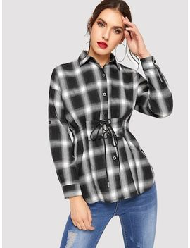Plaid Curved Hem Lace Up Front Shirt by Sheinside