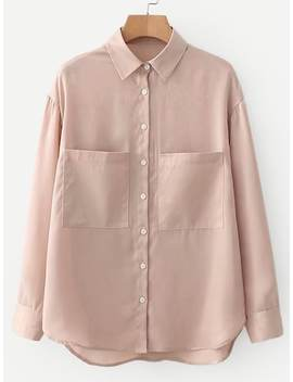 Solid High Low Shirt by Sheinside