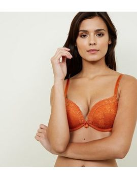 Orange Lace Push Up Bra by New Look