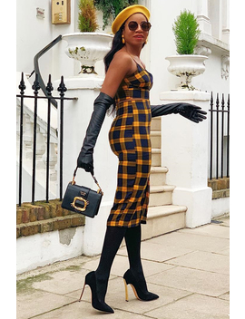 Mustard Check Bralet And Midi Skirt Co Ord   Caden by Rebellious Fashion