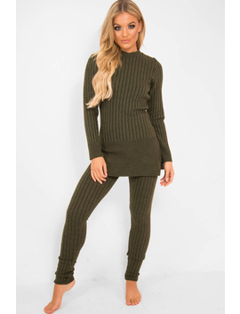 Khaki Knitted Loungewear Set   Jordi by Rebellious Fashion