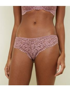 Mid Pink Lace Brazilian Briefs by New Look