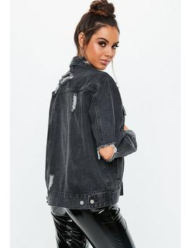 Black Distressed Oversized Boyfriend Denim Jacket by Missguided