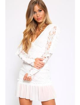 Cream Lace And Mesh Tiered Dress by I Saw It First