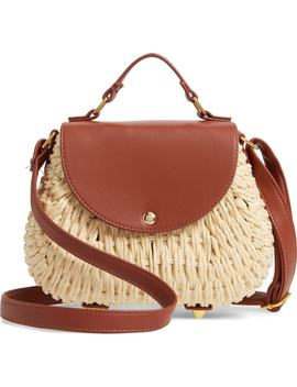 Faux Leather Trim Straw Saddle Bag by La Double 7