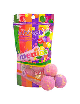 Bubble T X Mentos Fruit Splash Tea Mini Bath Bomb Fizzers (6 X 20g) by Look Fantastic