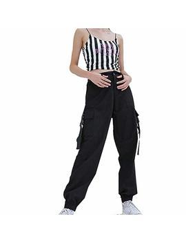 Jeelinbore Damen Cargo Hose Freizeithose Militär Sporthose Hippie Cargohose Streetwear by Amazon