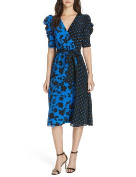 Siona Puff Sleeve Silk Midi Dress by Alice + Olivia