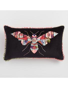 Oversized Multicolored Bug Embroidered Velvet Throw Pillow by World Market