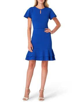 Keyhole Scuba Crepe Fit & Flare Dress by Tahari