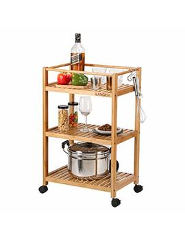 Langria Bamboo All Purpose 3 Tier Rolling Cart With Removable Hooks And Lockable Wheels For Home Organization Kitchen Bathroom Storage Cart (Load 11 Lbs. Per Shelf, Nature Burly Wood Color) by Langria