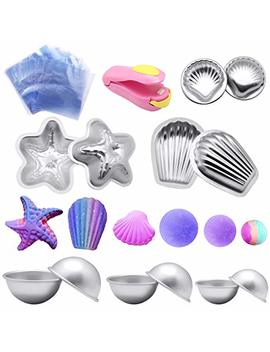 Bath Bomb Mold Kit,Yotako Diy Metal Bath Mould Bomb Shapes 6 Sets 12 Pieces With 50 Shrink Warp Bags And 1 Pieces Mini Heat Sealer For Bath Bomb Making,Handmade Soaps... by Yotako