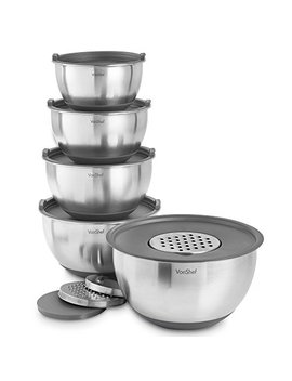 Von Shef Premium 5 Piece Nesting Stainless Steel Mixing Bowl Set, Anti Slip Silicone Base & Lids, Inc. 3 Graters, 1 L, 2 L, 2.5 L, 3.5 L And 4.5 L Bowls   Grey by Von Shef