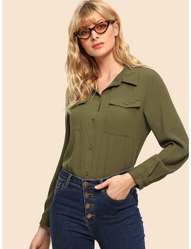 70s Pocket Patched Curved Hem Shirt by Shein