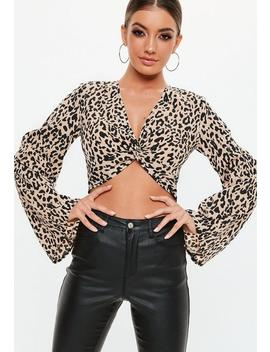 Black Leopard Flared Sleeve Crop Top by Missguided