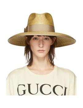 Beige Gg Crystal Straw Hat by Gucci