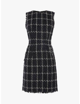Warehouse Chenille Tweed Pinafore Dress, Black by Warehouse