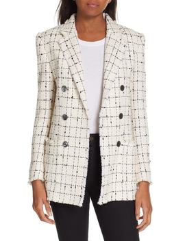 Windowpane Plaid Tweed Double Breasted Blazer by Rebecca Taylor